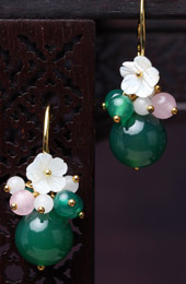 Green Agate Dangle Earrings, Clip On Non Pierced Earrings