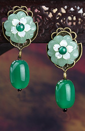 Green Jade Dangle Earrings, Chinese Drop Earrings