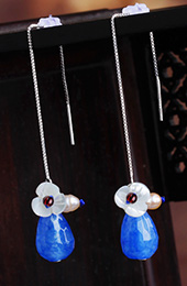Blue Glass Dangle Drop Silver Chain Earrings