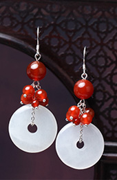 White Jade Dangle Earrings, Non Pierced Drop Earrings