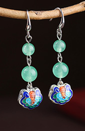 Green Jade Dangle Earrings, Non Pierced Drop Earrings