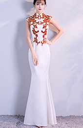 White Fishtail Qipao / Cheongsam Evening Dress with Red Embroidery