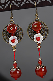 Red Agate Drop Earrings, Non Pierced Dangle Earrings