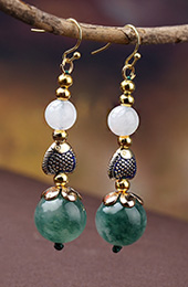 Green Agate Drop Earrings, Non Pierced Dangle Earrings