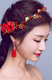Red Silk Blossom & Crystal Bridal Hair Vine, Earrings Gift