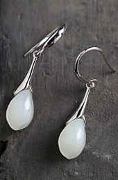 White Jade Drop Earrings, Silver Dangle Earrings