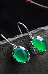 Green Agate Waterdrop Earrings, Silver Dangle Earrings