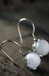 Waterdrop Dangle Earrings, White Chalcedony Earrings