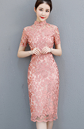 Pink Lace Midi Qipao / Cheongsam Party Dress