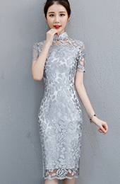 Gray Lace Midi Qipao / Cheongsam Party Dress
