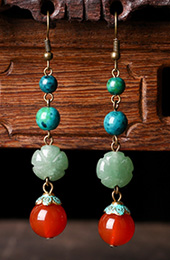 Agate Dangle Earring, Malachite Stone Drop Earrings