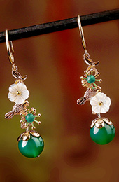 Green Agate Dangle Earring, Shell Drop Earrings