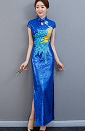 Blue Sequined Long Embroidered Qipao / Cheongsam Party Dress with Split