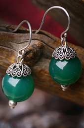 Green Agate Dangle Drop Earrings, Non Pierced Earrings
