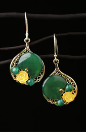 Green Aage Drop Earrings, Non Pierced Ceromel Dangle Earrings