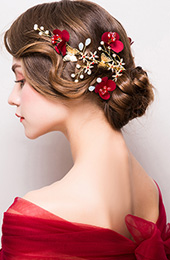Red Blossoms and Alloy Pearl Hair Vine