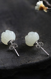 White Jade Flower Stud Silver Earrings
