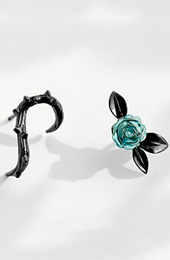 Mismatched Thorn Blue Rose Stud Earrings