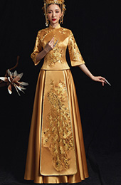 Golden Wedding Qun Kwa with Phoenix Embroidery