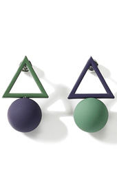 Colorblocked Geometric Triangle Stud Earrings