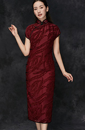Custom Made Red Qipao / Cheongsam Evening Dress