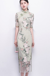 Green Embroidered Long Qipao / Cheongsam Party Dress
