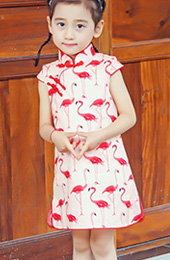 Pink Kids Girl Cheongsam / Qipao Dress in Bird Print