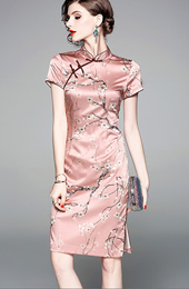 Pink Floral Silk Qipao / Cheongsam Party Dress