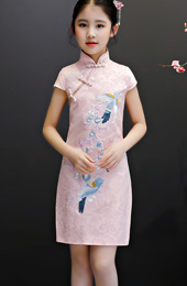 Pink Embroidered Kids Girl's Cheongsam / Qipao Dress