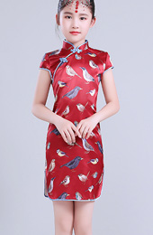 Red Girl's Silk Cheongsam / Qipao Dress in Bird Print