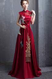 Wine Red A-Line Floor Length Qipao / Cheongsam Wedding Dress with Embroidery