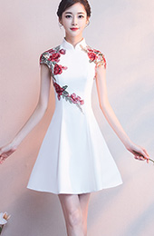 White A-Line Embroidered Qipao / Cheongsam Evening Dress