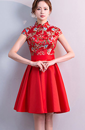 Red Woven A-Line Qipao / Cheongsam Party Dress