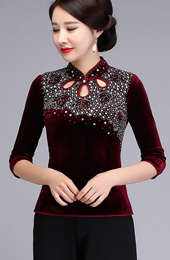 Beaded Stretchy Velour Qipao / Cheongsam Blouse Top