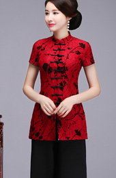 Red Floral Lace Qipao / Cheongsam Blouse Top