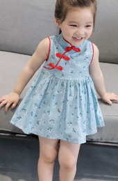 Floral Kids Girl's A-Line Cheongsam / Qipao Dress