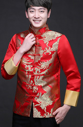 Traditional Chinese Men's Wedding Jacket with Golden Dragon