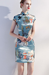 Blue Printed Short Chinese Qipao / Cheongsam Party Dress