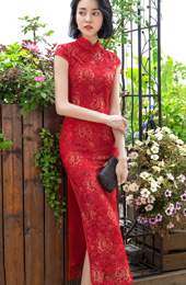 Red Lace Long Qipao / Cheongsam Party Dress with Sequined Butterfly