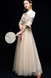 Champagne Sequined Embroidered Wedding Qun Kwa