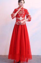 2018 Summer Embroidered Chinese Wedding Qun Kwa