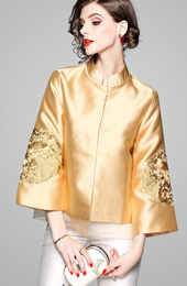 2018 Fall Golden Embroidered Women Qipao / Cheongsam Jacket