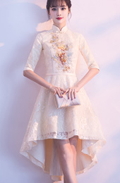 Beige Lace High Low Hem Qipao / Cheongsam Party Dress