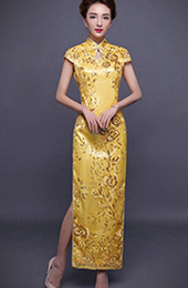 Golden Sequined Embroidered Qipao / Cheongsam Evening Dress