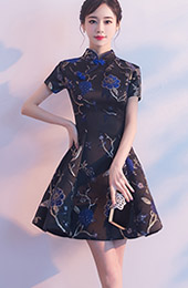 Black A-Line Silver Woven Qipao / Cheongsam Evening Dress