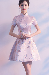 Pink A-Line Silver Woven Qipao / Cheongsam Party Dress