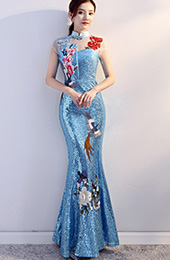 Custom Made Bright Blue Sequins Qipao / Cheongsam Evening Dress