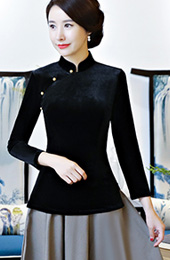 Black Velvet Qipao / Cheongsam Blouse Top