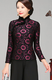 Wool Blend Lace Qipao / Cheongsam Jacket With Fur Trim