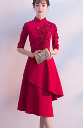 Wine Red Irregular Hem Appliques Qipao / Cheongsam Wedding Dress